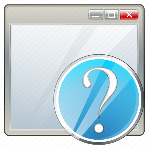 app, application, interface, question, window icon