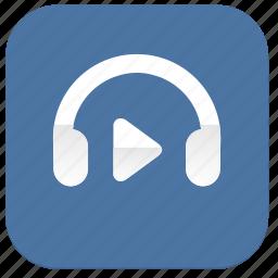 function, headphones, listen, music, play, vkontakte icon