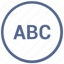 abc, format, mobile, mode, text, uppercase, vk icon