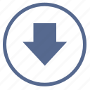 arrow, bottom, down, round, sign, vk icon