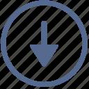 arrow, bottom, down, navigation, vk icon