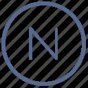 function, letter, n, navigation, north, round, vkontakte icon