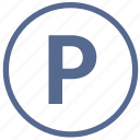 letter, p, park, road, round, sign, vkontakte icon
