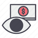 contact, eye, money, pay, per, view, watch icon