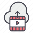 cloud, upload, video icon