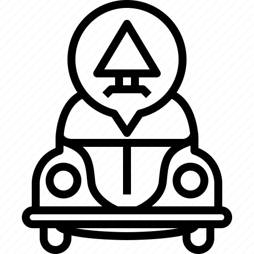alert, bug, car, triangle, vw, warning, yumminky icon