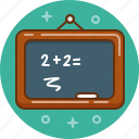blackboard, chalk, count, mathematics, maths, school icon