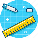 blueprint, draw, pencil, rubber, ruler, sketch icon