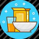 bowl, breakfast, cornflakes, food, juice icon