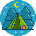adventure, camping, forest, night, tent, travel icon