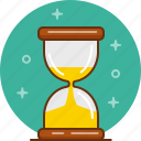 clock, hour glass, sand, time, wait icon