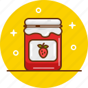 confiture, jam, jar, marmelade, strawberry icon