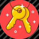 door, key, lock, pad, unlock icon