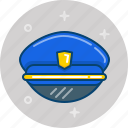 cap, hat, pilot, police, police hat icon