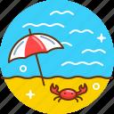 beach, relax, sea, summer, sunbathe, swim icon