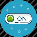on, start, start button, switch icon