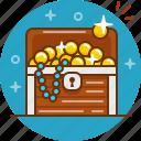 chest, coin, gold, jewelry, treasure icon