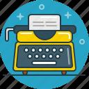 read, story, type, type machine, write, writer icon