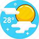 cloudy, hot, sun, sunny, temperature, weather icon