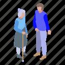 cartoon, family, grandmother, help, isometric, volunteer, woman icon