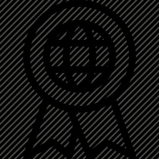 achievement, award, badge, global, globe icon