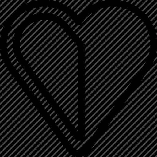 favorite, half, heart, like, love icon