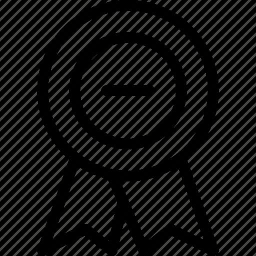 achievement, award, badge, prize, remove icon
