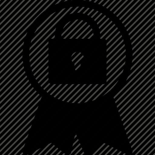 award, badge, lock, safe, security icon
