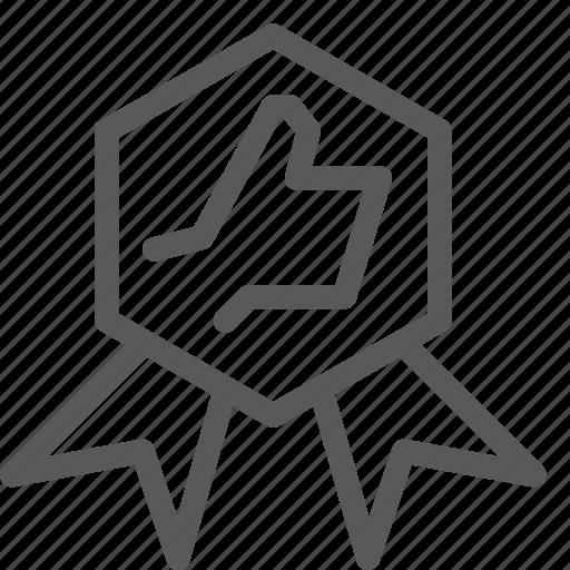 award, badge, banner, prize, ribbon, thumb, up icon