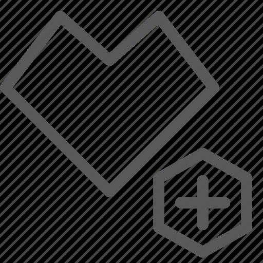 add, favorite, heart, increase, like, plus, vote icon