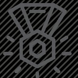 award, badge, diamond, medal, prize, rewards, ribbon, vote icon
