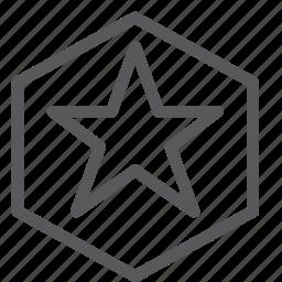 award, badge, hexagon, medal, prize, ribbon, star, vote icon