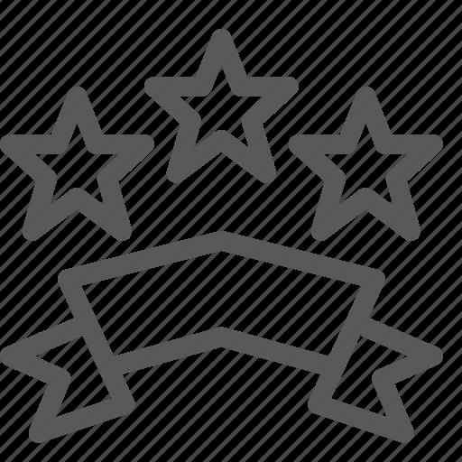 award, badge, prize, rewards, ribbon, star, stars, three icon