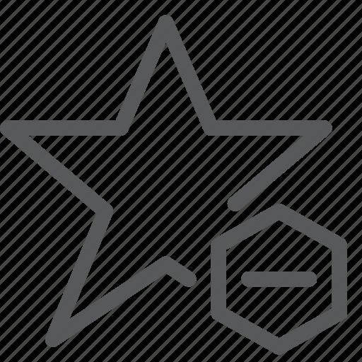 award, decrease, election, minus, rank, rewards, star, vote icon