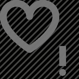 alert, error, exclamation, heart, like icon