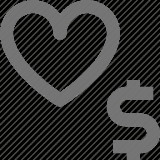 dollar, heart, like, money icon