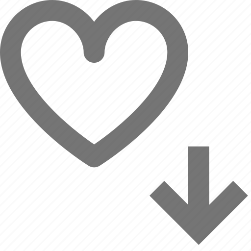 arrow, down, download, favorite, heart, like, love, romantic icon