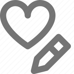 edit, favorite, heart, like, love, pencil, romantic, write icon