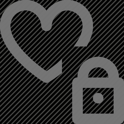 heart, like, lock, security icon