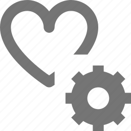 configuration, gear, heart, like, settings icon