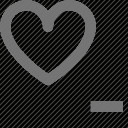 heart, like, minimize, minus icon