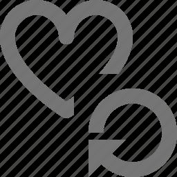 arrow, heart, like, refresh, reload, sync icon