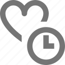 clock, heart, like, time icon