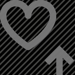 arrow, favorite, heart, love, romantic, up, upload icon