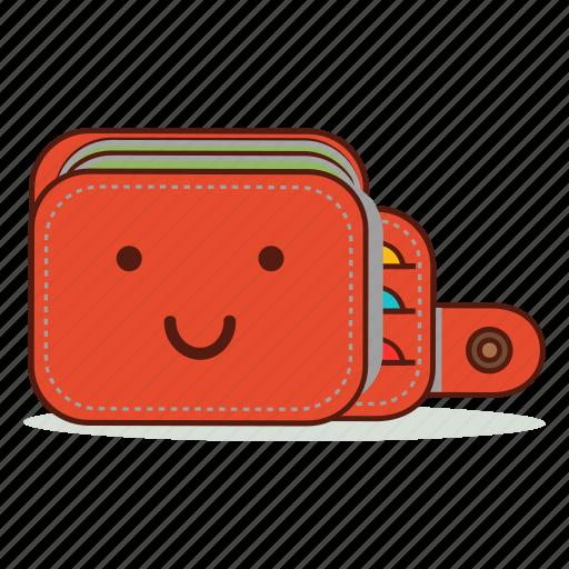 cartoon, cute, emoji, expression, smile, smiling, wallet icon