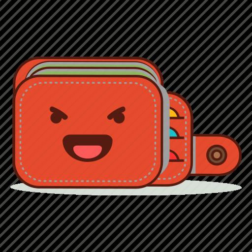 cartoon, cute, emoji, evil, expression, happy, wallet icon