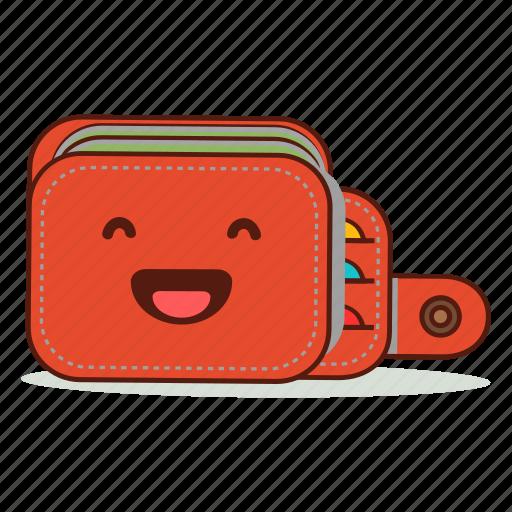 cartoon, cute, emoji, expression, happy, laughing, wallet icon