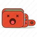 cartoon, cute, dead, emoji, empty, expression, wallet icon