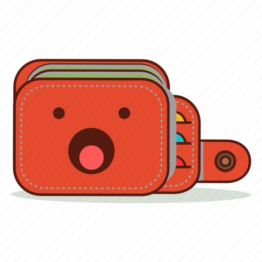 cartoon, cute, emoji, expression, shocked, surprised, wallet icon