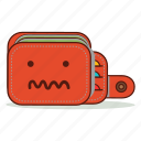 broke, cartoon, confused, cute, emoji, expression, wallet icon